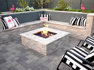 Fire Pit and Seat Wall Landscape Installation In GilbertAZ