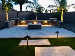 Landscape Design Gilbert, AZ - Travertine Pavers, Firepit, Artificial Grass - The Yard Stylist