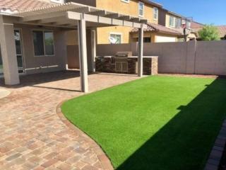 Backyard Landscaping - Artificial Grass - Pavers - BBQ Island - Gilbert AZ - The Yard Stylist - 600x400