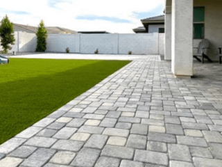 Artificial Grass - Yard Stylist - Gray Pavers Patio Artificial Turf