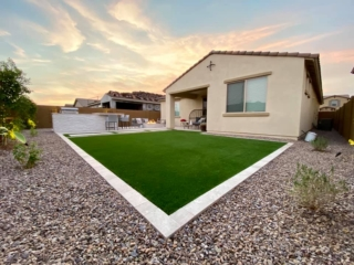 Artificial Grass – Decorative Rock – Lawn Edging – Patio with Outdoor Kitchen – Yard Stylist – Eastmark, Arizona