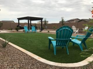 Artificial Grass Installation – Gilbert AZ – Green Chairs – Pergola – The Yard Stylist