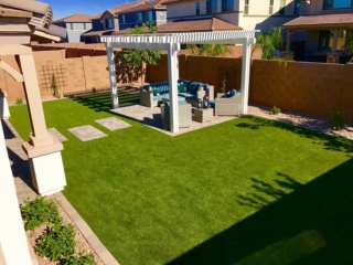 Artificial Grass Installation – Queen Creek AZ – White Pergola – The Yard Stylist