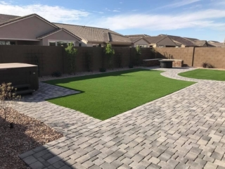 Artificial Grass Installation – Queen Creek AZ – With Beautiful Pavers – The Yard Stylist