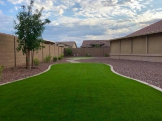 Artificial Grass – Poured Cement Lawn Edging and Decorative Rock – Yard Stylist – AZ