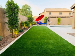Artificial Grass – Tiles Around Pool – Decorative Rock – Yard Stylist – Riggs Ranch Meadows Chandler AZ