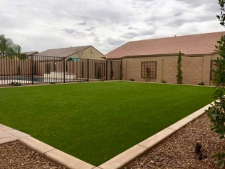 Artificial Grass – Wrought Iron Fence around Pool – Lawn Edging and Decorative Rock – Yard Stylist – AZ