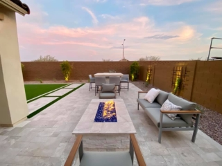 Fire Pit – Expansive Patio with White Pavers – Outdoor Dining – Yard Stylist – Eastmark Arizona