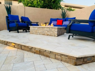 Fire Pit – Travertine Pavers – Elevated Sitting Area – Yard Stylist – Riggs Ranch Meadows, Chandler AZ
