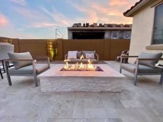 Fire Pit – White Pavers on Patio – Yard Stylist – Eastmark Arizona
