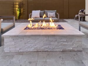 Fire Pits and Outdoor Fireplaces - Chandler AZ - Lit with Seating - The Yard Stylist