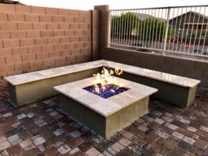 Fire Pits and Outdoor Fireplaces - Queen Creek AZ - Wall Seating - The Yard Stylist