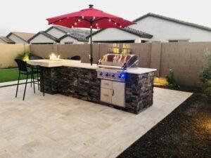 Outdoor Kitchen - Fireplace - Gilbert AZ - The Yard Stylist