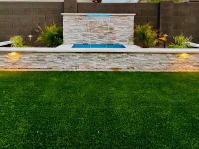 Water Features - Large Water Fountain - Plants - Lighting - Artificial Grass - Yard Stylist - Velvendo Meritage Homes, AZ
